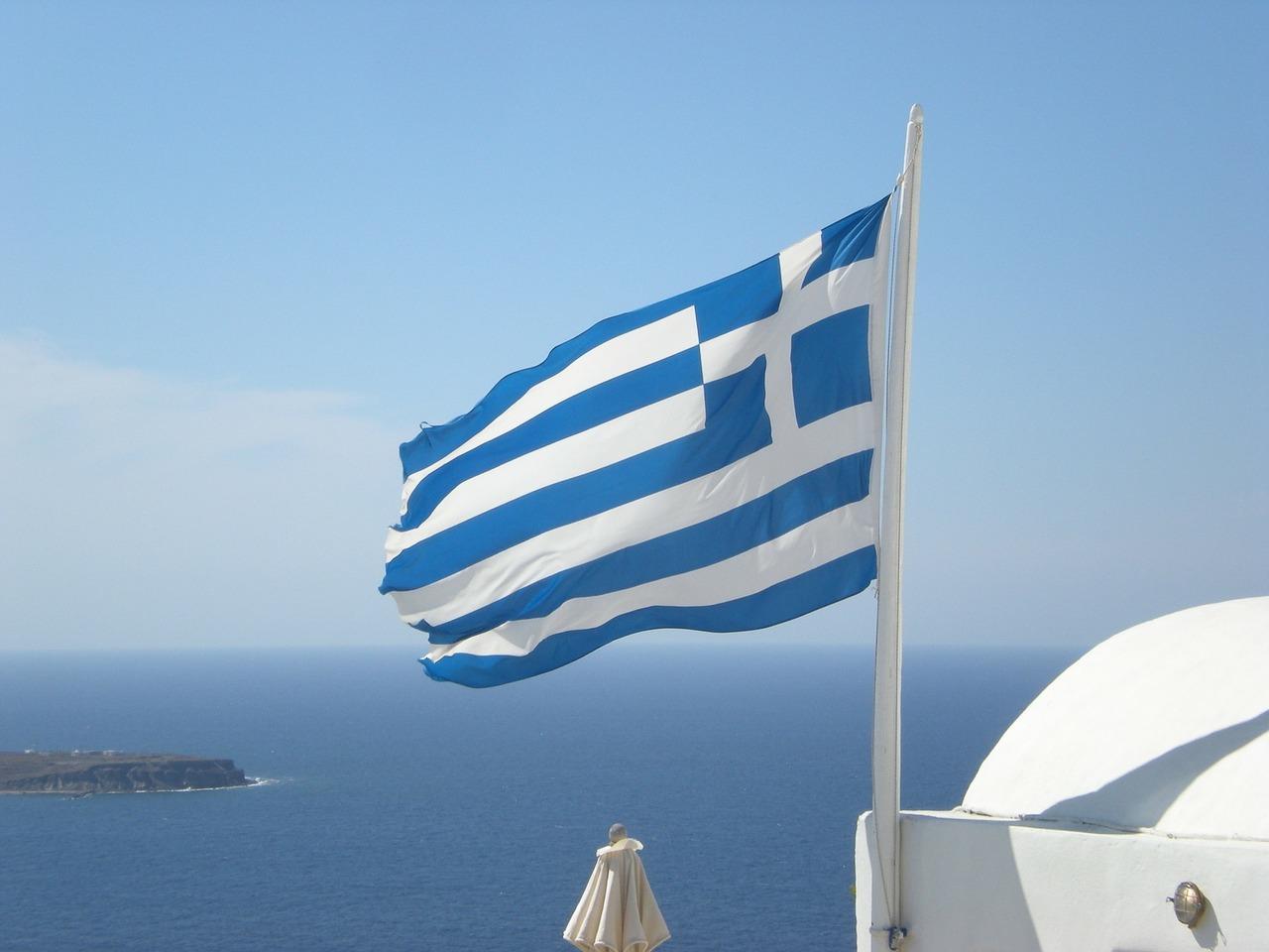 bandeira grega santorini