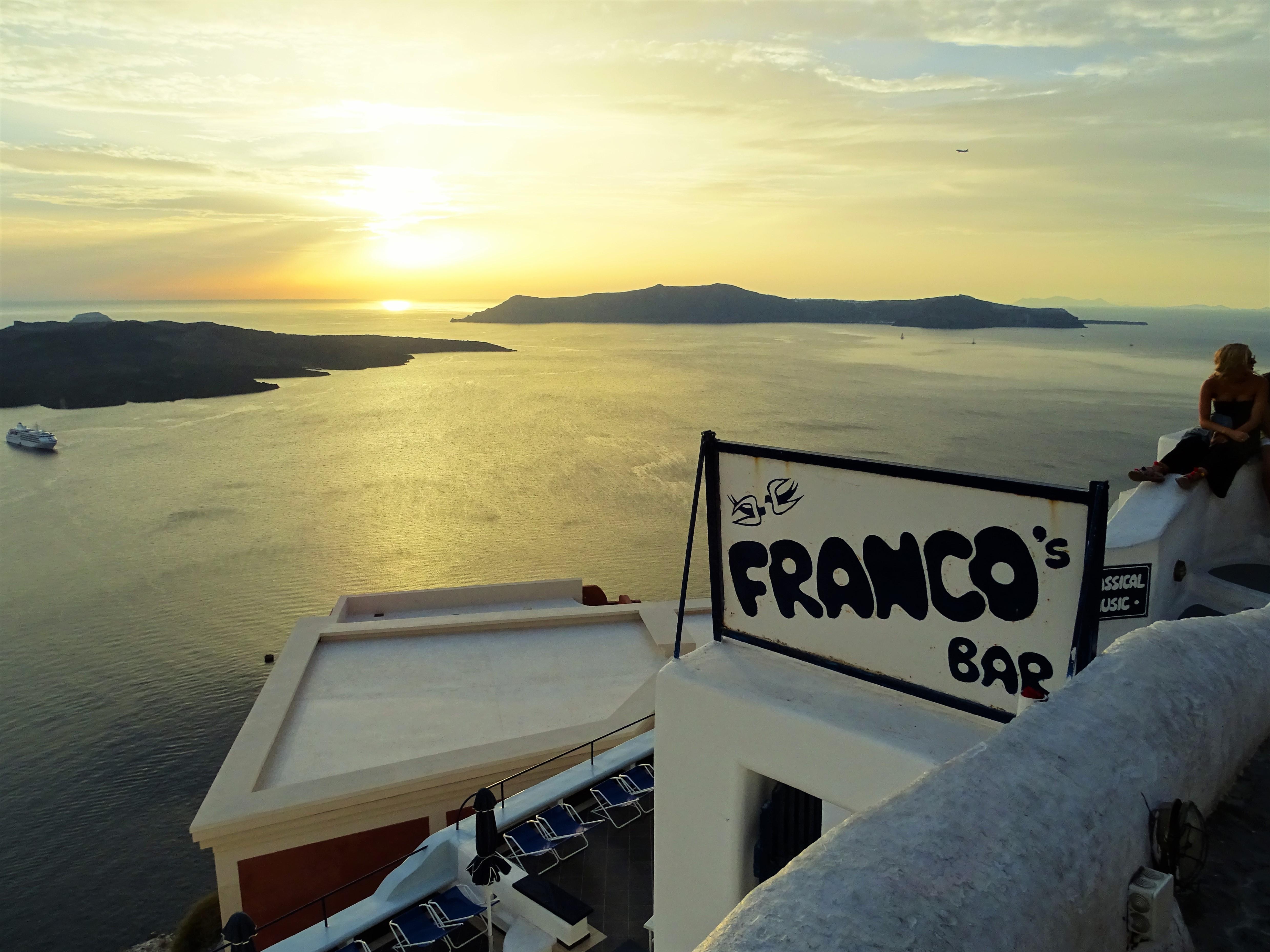 onde ver o por do sol em Santorini caldeira